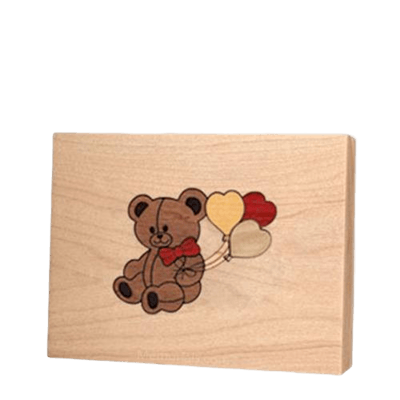 Teddy Children Wood Keepsake Urn