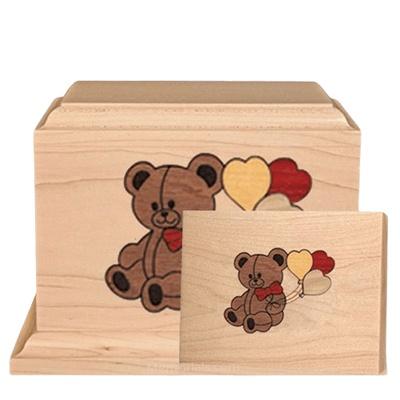 Teddy Children Wood Cremation Urns
