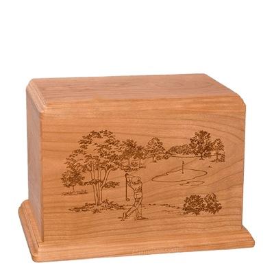 Tee Time Individual Cherry Wood Urn