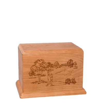 Tee Time Small Cherry Wood Urn