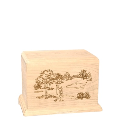 Tee Time Small Maple Wood Urn