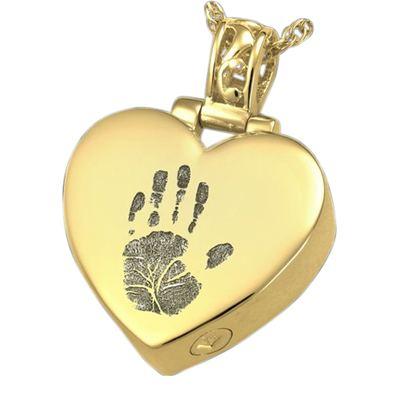 Tender Heart 14k Gold Cremation Print Keepsake