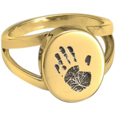Timeless 14k Gold Cremation Print Ring