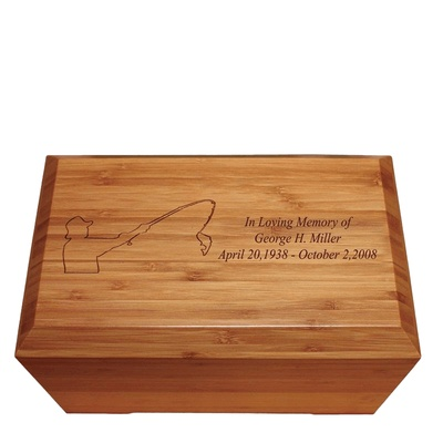 Fisherman Bamboo Distinction Green Cremation Urn