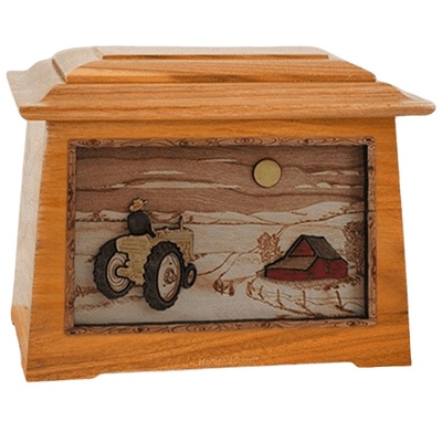Tractor & Moon Mahogany Aristocrat Cremation Urn