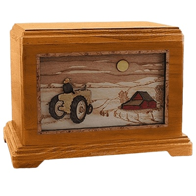 Tractor & Moon Mahogany Hampton Cremation Urn