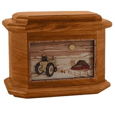 Tractor & Moon Mahogany Octagon Cremation Urn