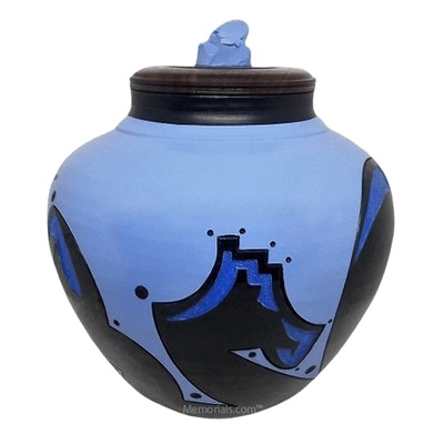 Tribal Blue Cremation Urn