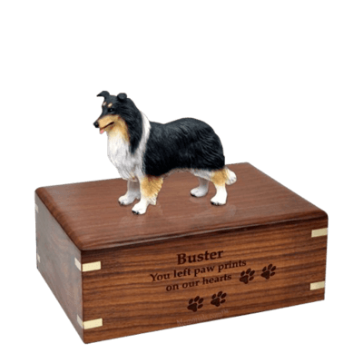Tricolor Border Collie Medium Doggy Urn