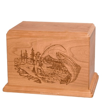 Trout Fishing Companion Cherry Wood Urn