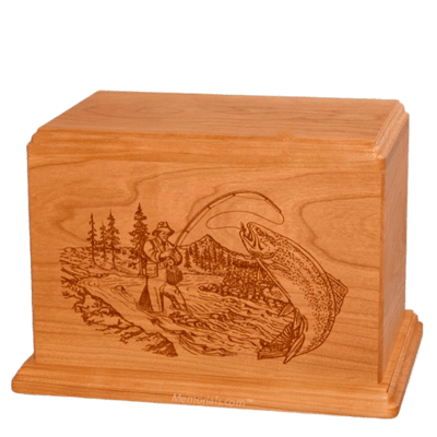 Trout Fishing Companion Mahogany Wood Urn