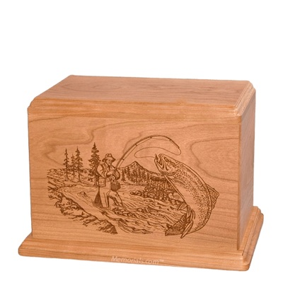 Trout Fishing Individual Cherry Wood Urn