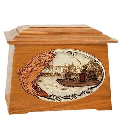 Trout Fishing Mahogany Aristocrat Cremation Urn
