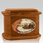 Trout Fishing Mahogany Octagon Cremation Urn