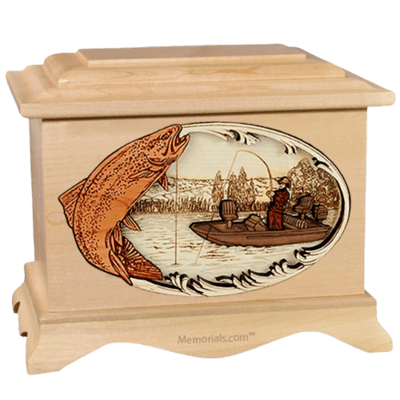 Trout Fishing Maple Cremation Urn