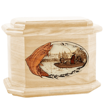 Trout Fishing Maple Octagon Cremation Urn