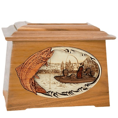 Trout Fishing Oak Aristocrat Cremation Urn