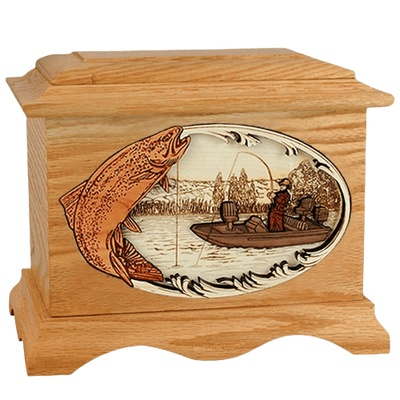 Trout Fishing Oak Cremation Urn
