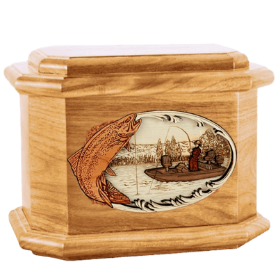 Trout Fishing Oak Octagon Cremation Urn