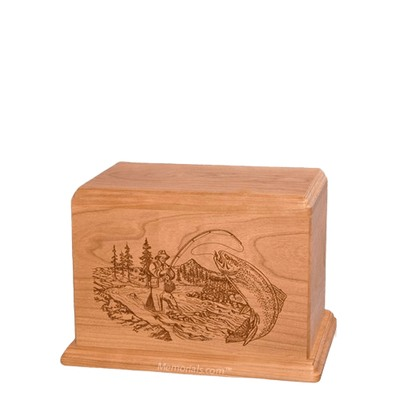 Trout Fishing Cherry Small Wood Urn