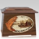 Trout Fishing Walnut Aristocrat Cremation Urn