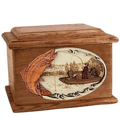 Trout Fishing Walnut Memory Chest Cremation Urn