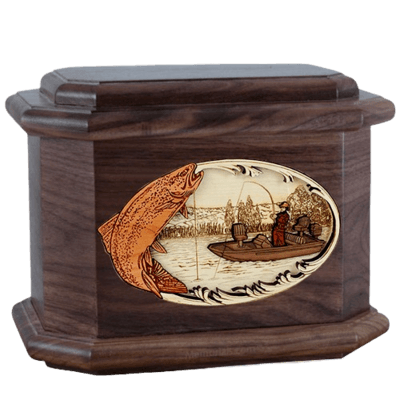 Trout Fishing Walnut Octagon Cremation Urn