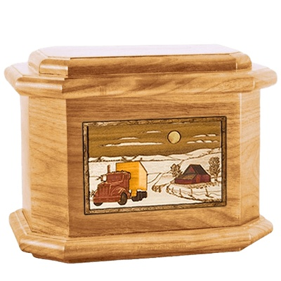 Trucker Oak Octagon Cremation Urn