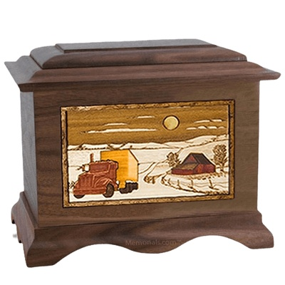 Trucker Walnut Cremation Urn