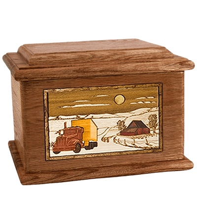 Trucker Walnut Memory Chest Cremation Urn