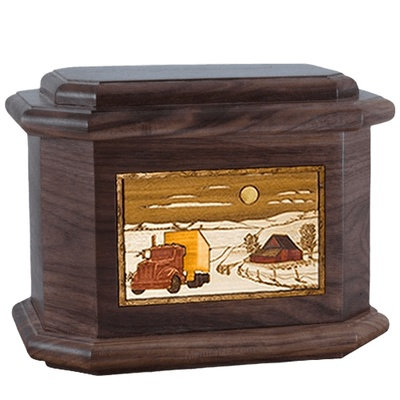 Trucker Walnut Octagon Cremation Urn