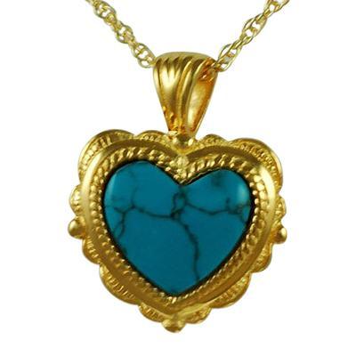 Etched Turquoise Heart Keepsake Pendant IV