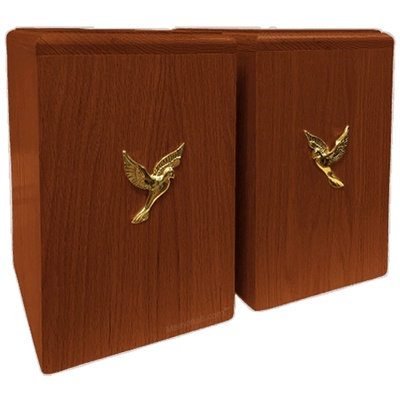 Two Doves Redwood Companion Urn