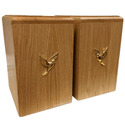 Two Doves Oak Companion Urn