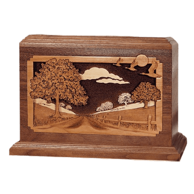 Country Lane Walnut Wood Cremation Urn