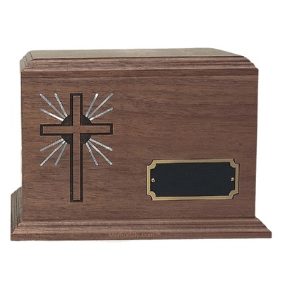 Holy Cross Inlay Walnut Wood Cremation Urn