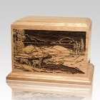Deer Scene Oak Wood Cremation Urn
