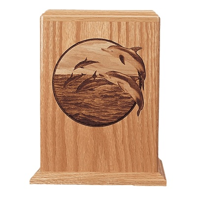 Dolphin Oak Wood Cremation Urn