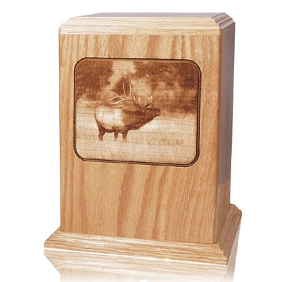 Elk Oak Wood Cremation Urn