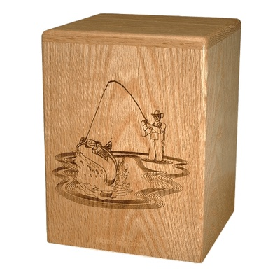 Fishing Oak Wood Cremation Urn