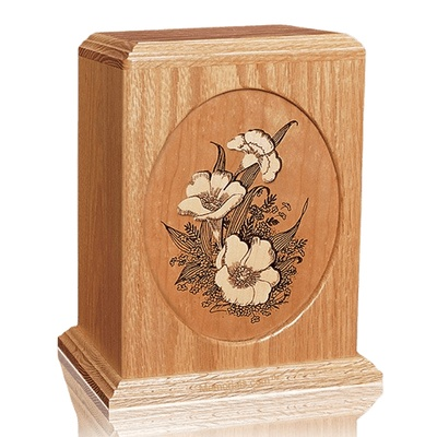 Floral Oak Wood Cremation Urn