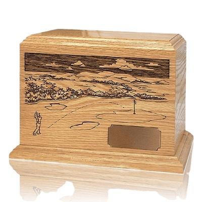 Golfer Oak Wood Cremation Urn