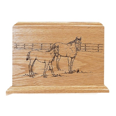Horses Oak Wood Cremation Urn