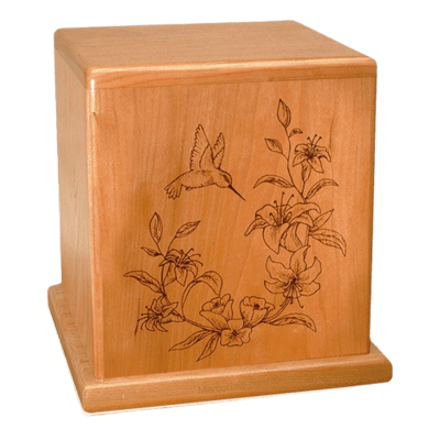 Hummingbird Cherry Cremation Urn