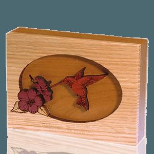 Hummingbird Oak Keepsake Cremation Urn