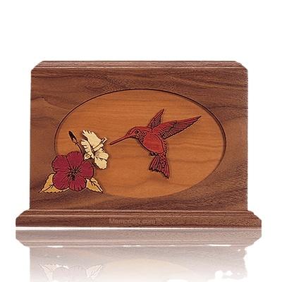 Hummingbird Walnut Wood Cremation Urn