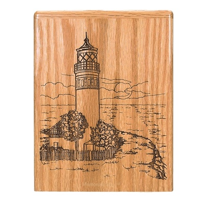 Lighthouse Oak Wood Cremation Urn
