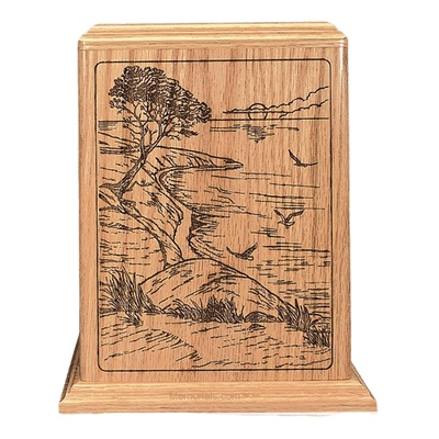 Ocean Sunrise Oak Wood Cremation Urn