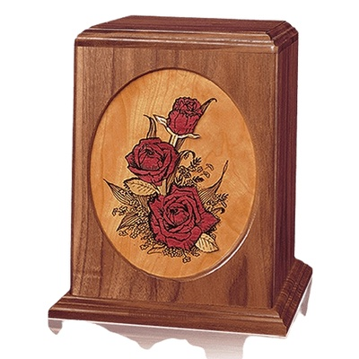 Rose Bouquet Walnut Wood Urn