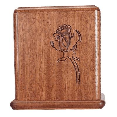 Rose Stem Mahogany Cremation Urn